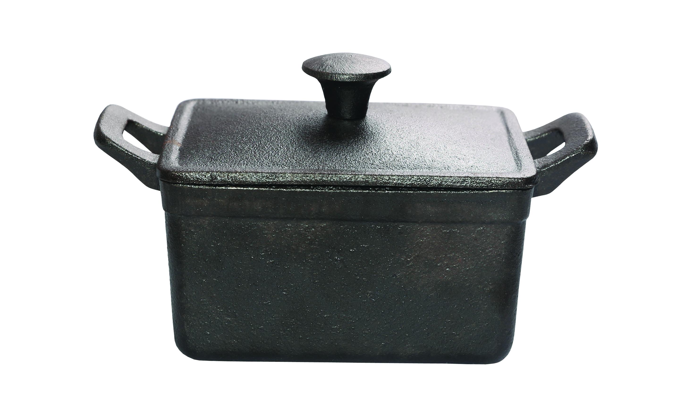 Rectangular mini pot with lid